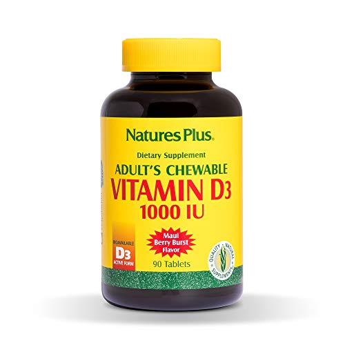 Natures Plus Vitamin D3 Adult Chewable - 1000 IU, 90 Vegetarian Tablets - Maui Berry Burst Flavor - Bone Health, Heart Health & Immune System Support Supplement - Gluten Free - 90 Servings