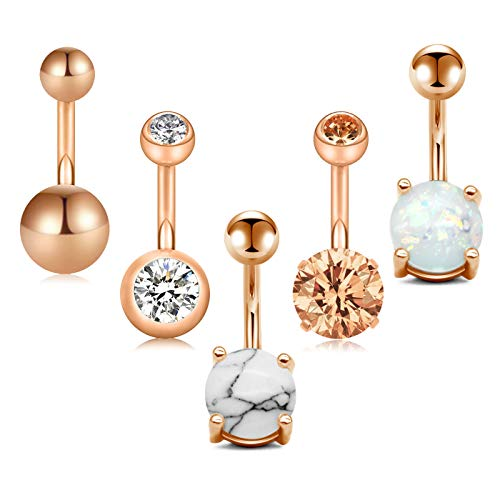 (Zolure 5PCS 14G Belly Button Rings 316L Stainless Steel Navel Rings SS/Crystal/Opal Ball Body Piercing Rose Gold)