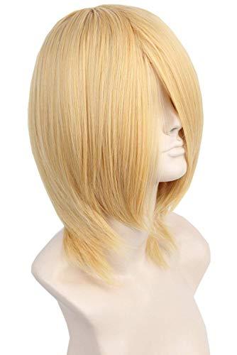 Short Cosplay Wig for Man Women Lang Bangs Gold Blonde Costume Hair