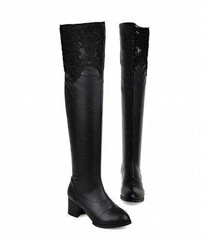 Carolbar Dames Cosplay Mode Elegantie Charmes Date Boven De Knie Kant Midden Hiel Hoge Jurk Laarzen Zwart