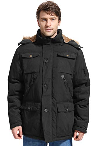 Yozai Mens Winter Parka Insulated Warm Jacket Military Coat Faux Fur With Pockets And Detachable Fur Hood 370 Black Large