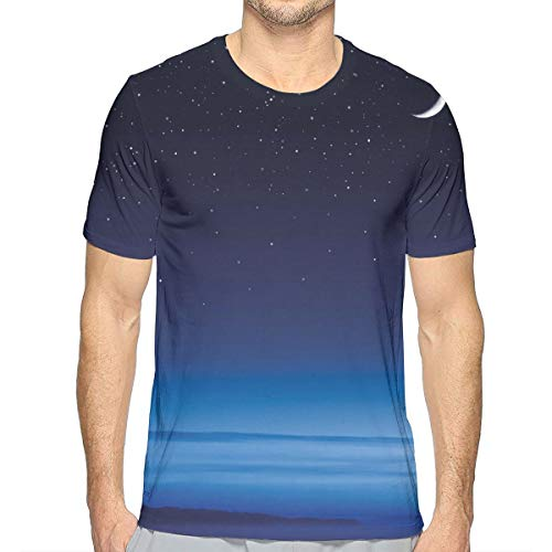 3D Printed T Shirts,Moon and Stars Over Santa Barbara Channel Infinity Foggy Pacific Ocean
