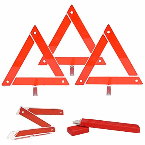 IYSHOUGONG 3 PCS Foldable Red Reflective Warning Triangle Frame Stop Warning Sign Reflector Emergency Breakdown Safety Hazard Travel Kit