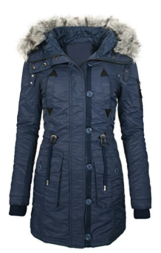 Damen Winter Jacke Outdoor Mantel Winterjacke Wasserabweisend B54 Navy ADTygDd6M
