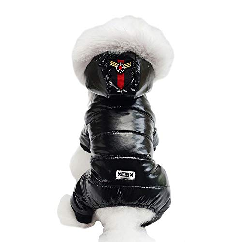 Hooded Dog Jumpsuit - MUYAOPET Waterproof Pet Clothes for Dog Winter Warm Dog Jacket Coat Dog Hooded Jumpsuit Snowsuit (S, Black)