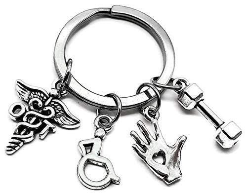 OT Occupational Therapist Keychain, OT Keychain, Occupational Therapy Keychain, Hand Massage, Dumbbell, Wheelchair Charm, Occupational Therapist Gift, OT Key Ring, Occupational Therapist Key Ring