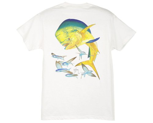 Guy Harvey Bull Dolphin - Guy Harvey Bull Dolphin Youth T-Shirt - White - XL