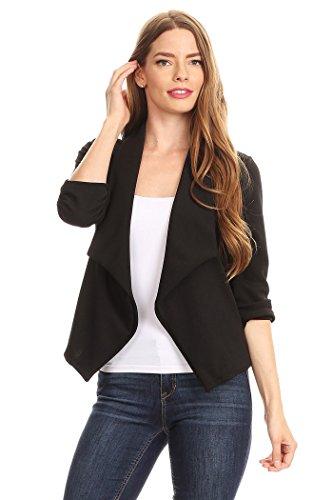 Women's Casual Work Natural Style Blazer Cardigan MADE IN USA (Medium, White)
