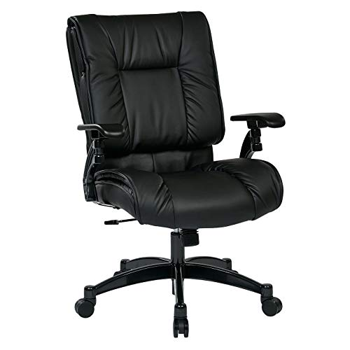 SPACE Seating Black Eco Leather Conference Chair with Cantilever Arms and Gunmetal Finish ()