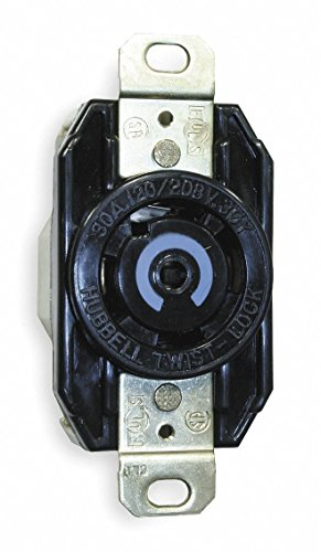 Hubbell HBL2810 Locking Receptacle, Industrial, 30, Black