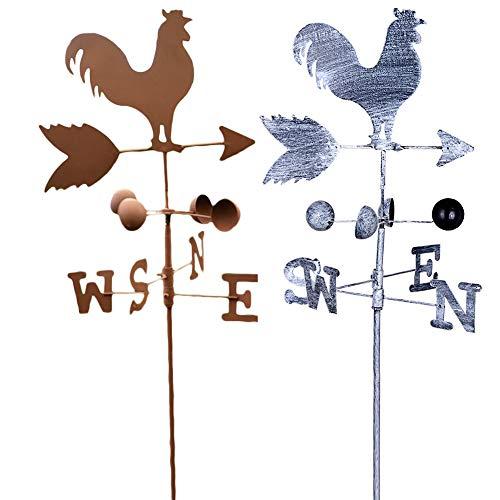 Vintage Rooster Weather Vane Metal Iron Wind Speed Spinner Direction Indicator Garden Ornament Decoration Patio Yard 120cm (Color Random) (Chicken Weathervane Coop)