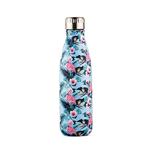 - DOKIO 17 oz Blue Flamingo Painting Insulated Sports Water Bottle For Drinking Double Stemless Stainless Steel Vacuum Flask Thermos Travel Mug For Outdoor Sporting Camping For Ice Hot Drink