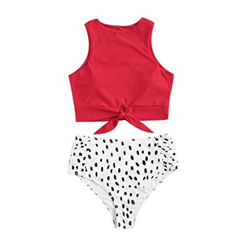 - Womens Halter Swimwear High Neck Swimsuits Bikini Set Two Piece Knot Front Crop Dot Top with Floral Bottom Red