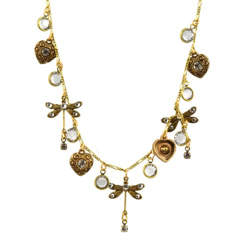 Anne Koplik Dragonfly Necklace, Gold Plated Dragonfly and Hearts Pendant ()