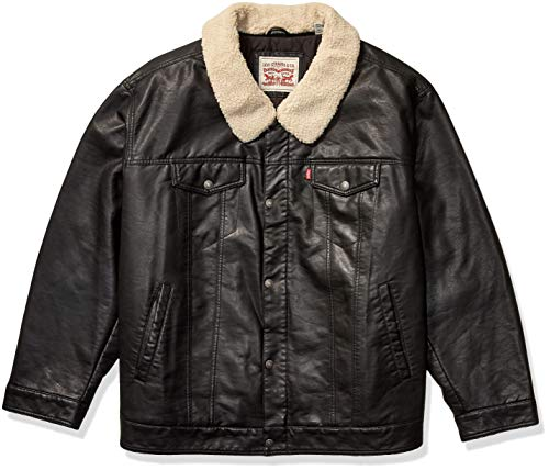 Levi's Men's Faux Leather Trucker Jacket with Detachable Collar (Regular and Big and Tall Sizes)
