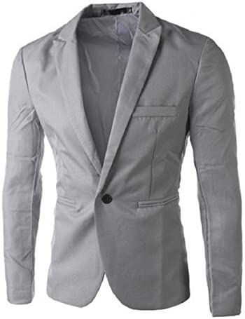 [해외]GONKOMA Men`s Suit Blazer Slim Fit Fashion One Button Suit Blazer Coat Jacket Tops Outwear (S Gray) / GONKOMA Men`s Suit Blazer Slim Fit Fashion One Button Suit Blazer Coat Jacket Tops Outwear (S Gray)