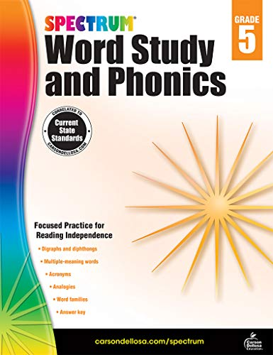 Spectrum Paperback Word Study and Phonics Book, Grade 5, Ages 10-11
