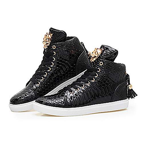 Black Rond Automne TTSHOES Confort CN39 Cuir Talon Microfibre Noir UK6 US8 Basket Lacet Printemps EU39 Plat Bout Femme Chaussures Blanc qrXXPwZS