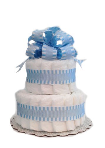Classic Pastel Baby Shower Diaper Cake (2 Tier, Blue)