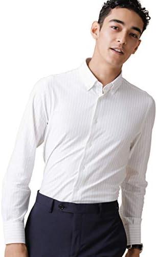 [ナノユニバース] FORMAL JERSEYピン ストライプ BDシャツ SL メンズ