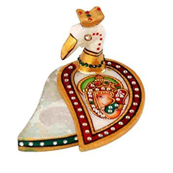 Craftam Indian Handicrafts Marble Round Flower Shape Kumkum Chopda , Roli Tika Rice Container For Marriage Function, Pooja , Wedding Gift, Anniversary Gift (Peacock ()