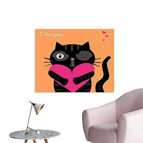 J Chief Sky Funny Wall Paper Kitty Holding A Heart I Love You Romance Valentines Greeting Birthday Concept Decor Sticker W28 xL20