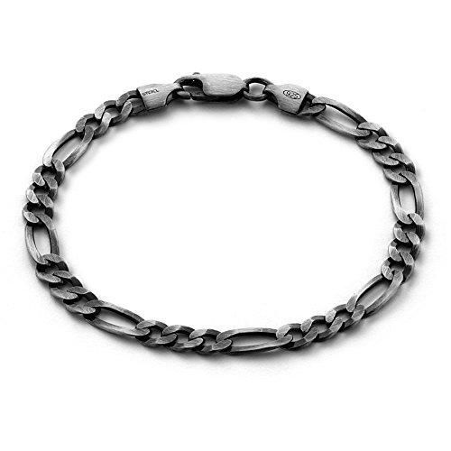 8efe8867b98d sterll Hombre Pulsera de plata plata 23 cm Negro oxidiert joyas de bolsa