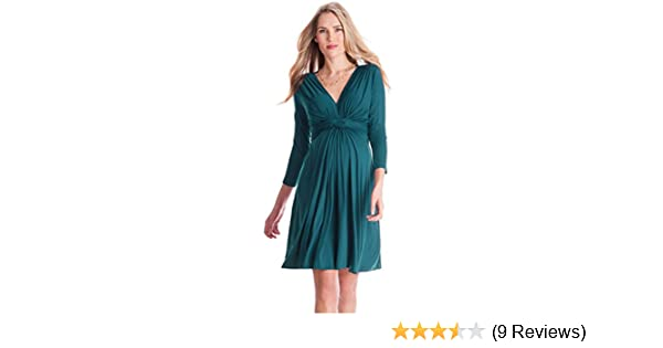 c1048a16174 Seraphine Women s Dark Green Knot Front Maternity Dress at Amazon Women s  Clothing store