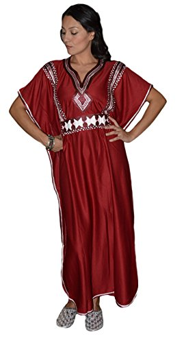 Moroccan Caftans Women Handmade with Embroidery Long Length One Size Burgundy