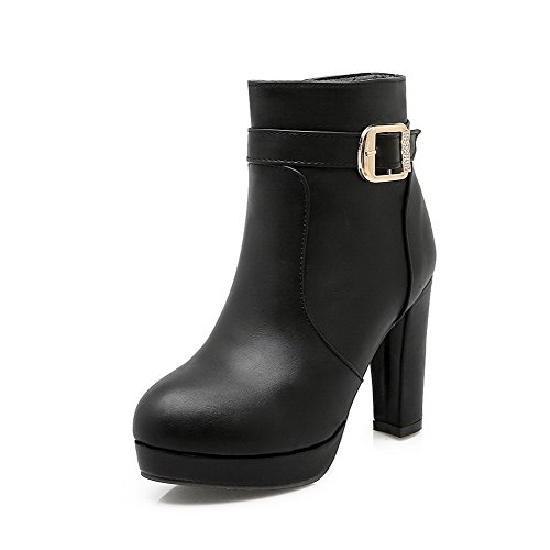 Women's Pull On High Heels Fabric Surface Solid Round Closed Toe Boots Black 38