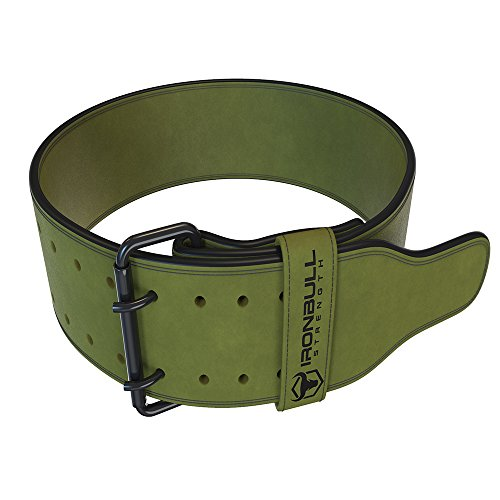 Iron Bull Strength Powerlifting Belt - 10mm Double Prong - 4-inch Wide - Heavy Duty for Extreme Weight Lifting Belt (Green, Large)