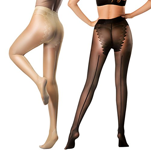 HONENNA 2 Pair Pantyhose with Back Seam Reinforced Bikini Control Top Semi Sheer Tights (Black+Nude, (Back Seam Spandex)