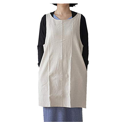 (Soft Cotton Linen Apron Solid Color Halter Cross Bandage Aprons Japanese Style X Shape Double Pockets Kitchen Cooking Clothes Gift for Women Chef Housewarming --Beige)