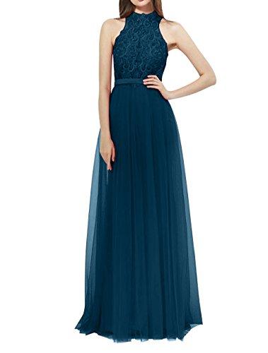 Aermellos Ballkleider Brau mia Spitze La Abendkleider Abschlussballkleider Brautmutterkleider Lang Blau Neckholder Dunkel YIqw6