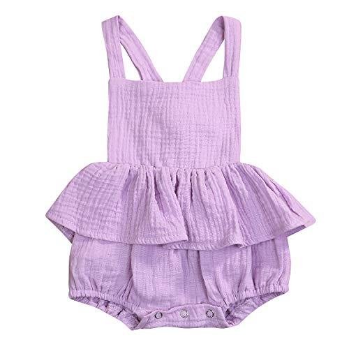 - Baby Girl Romper Infant Girls Sleeveless Halter Ruffled Jumpsuit Bowknot Summer Onesie (Purple, 6-12 Months)