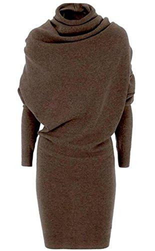 Solid Brown Domple Waist Sleeve Turtleneck Sweatshirt Womens Dress Color Long gSwwqXcR