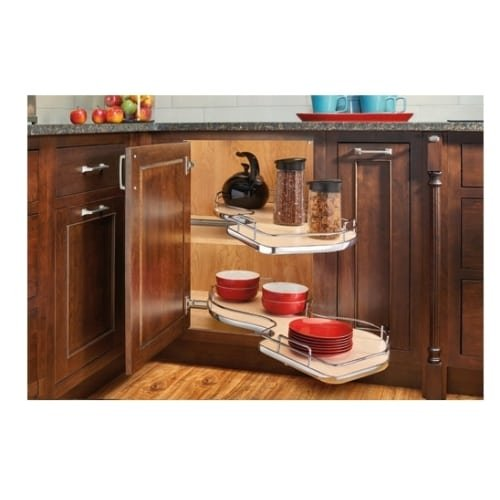 Rev-A-Shelf 5372-15-L 5372 Series Left Handed Blind Corner Two Tier Base Cabinet, Gray by Rev-A-Shelf