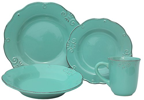 - Melange 710228915559 Stoneware 32-Piece Place Dinnerware Set | Antique Edge Collection | Service for 8 | Microwave, Dishwasher & Oven Safe | Dinner Plate, Mint