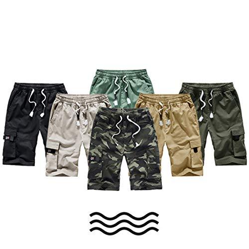 TieNew Homme Militaire Cargo Short de Loisir Travail Casual Imprimé Camouflage Bermuda Pantalon Court Multi Poches… 3
