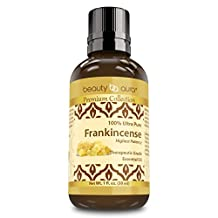 Beauty Aura Premium Collection – Ultra Pure Frankincense Essential Oil - 1 Oz Bottle - Steam Distilled From Sacred Boswellia Tree Resin - Use For Beauty Care, Massages & More