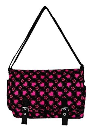 Ladies Across School College fuschia Satchel Girls Bag Hearts Shoulder Fuschia Body Handbag SqRBSwIr