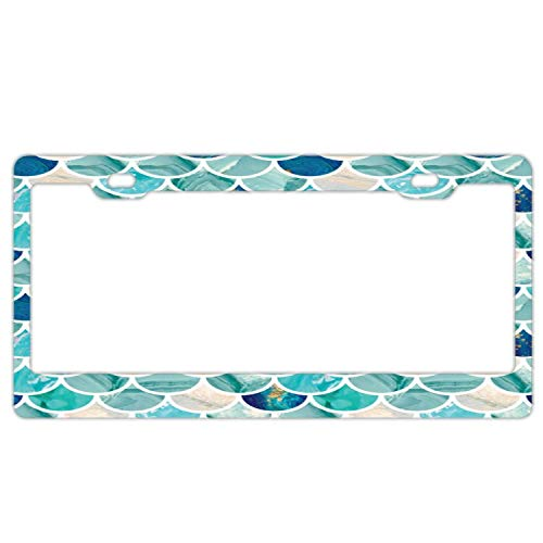 - Customized Frames Girly License Plate Frame for Women/Girls, Aluminum Metal Car Licenses Plate Cover for Both Front and Back License Tag - Aqua Turquoise Marble Mermaid Fish Scales