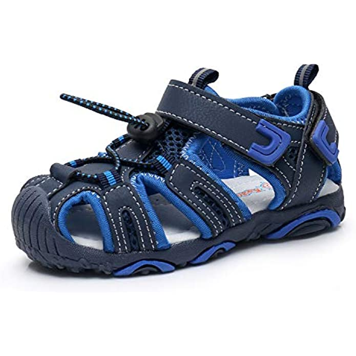 Apakowa Kids Boys Outdoor Athletic Sport Closed-Toe Sandals Boys Breathable Mesh Water Sandals Shoes (Toddler/Little Kid)