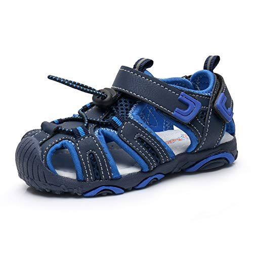 bf58e35bbcdd Apakowa Kids Boys Outdoor Athletic Sport Closed-Toe Sandals Boys Breathable  Mesh Water Sandals Shoes (Toddler Little Kid) (Color   Navy Blue
