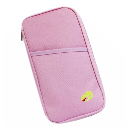 FuzzyGreen Multi-Function Creative Portable Travel Passport Organizer Wallet Documents Card Holder Cash Pouch Purse Handy Bag (Pink)