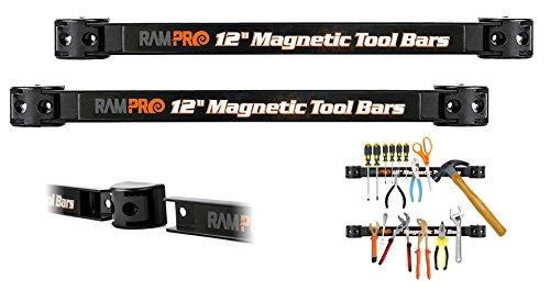 RamPro 12-Inch Magnetic Metal Tool Holder Organizer Racks, Heavy-Duty Bar for Garage/Workshop (2 Pieces)