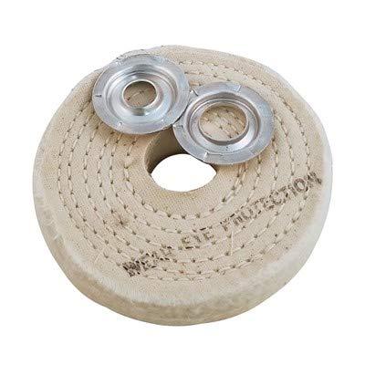 Dico Spiral Sewn Buffing Wheel, 4'' Dia x 1'' THK, Cotton Cloth Abrasive (6 Pack)