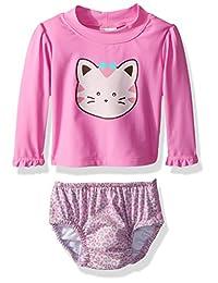 Kiko & Max Baby-Girls Baby Girls Rashguard and Diaper Cover Swim Set
