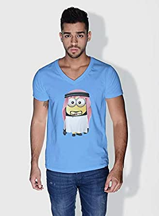 Creo Uae Minions Vshape Neck T-Shirt For Men - Blue, L