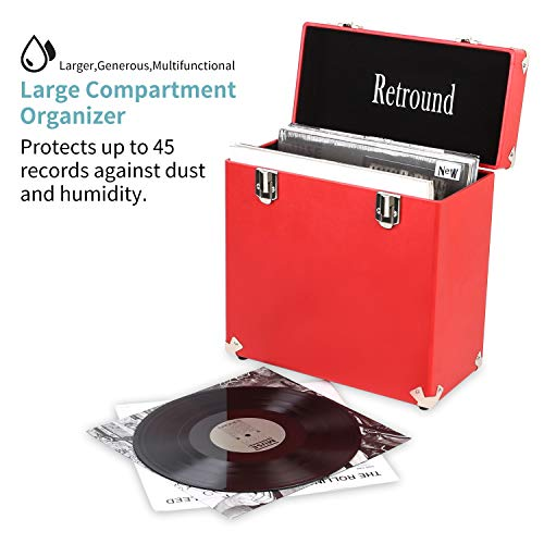 Retround Vintage Retro Vinyl leather Record Holder Case, LP Storage Carrying Case For 78 rpm, 45 rpm, 33 rpm Standard Vinyl Records Collections Storage Organizer Display Box-12 Inch (Red)